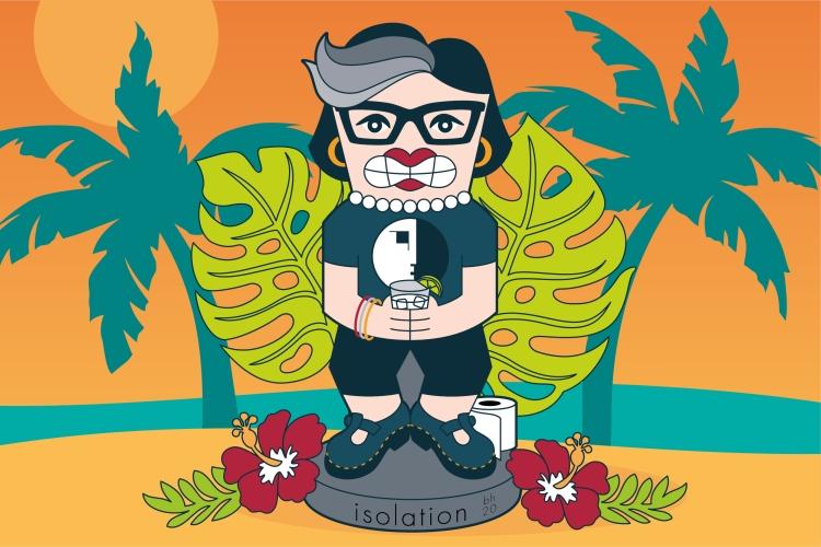 Bridget Halberstadt illustration. Isolation Tiki.
